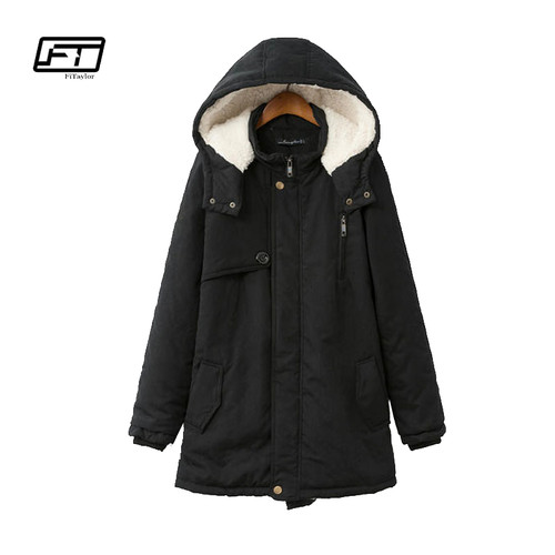 Fitaylor Cotton Parkas Lady Hooded Coats 2018 Winter Thick Black Warm Jacket Women Plus Size Loose Female Parka Coat Jacket