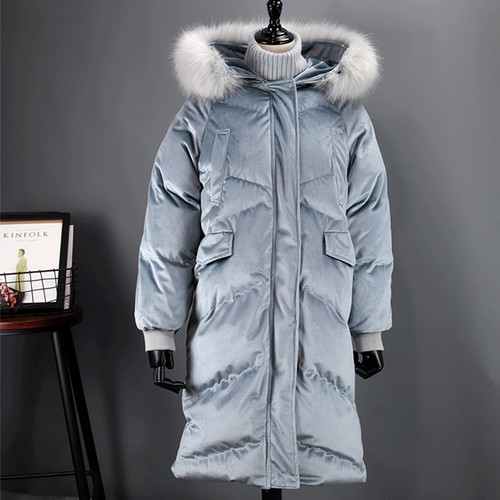 Fitaylor Women Duck Down Parkas Winter Large Real Fur Collar Warm Hooded Velour Jacket Coats Snow Long Loose Down Overcoat