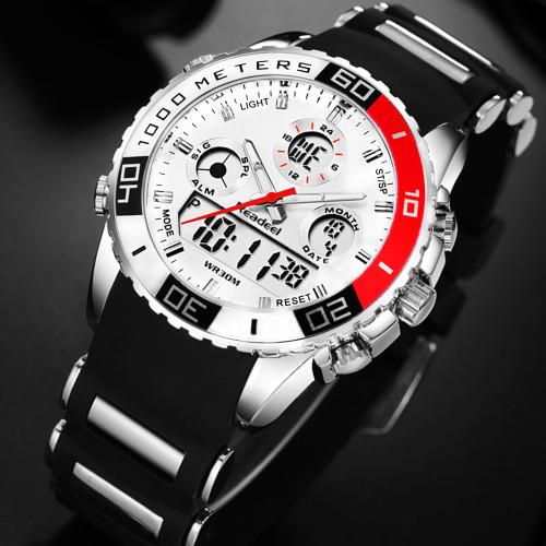Readeel brand men sports watches 2 time zone man fashion watch rubber digital quartz wristwatches relogio masculino clock male