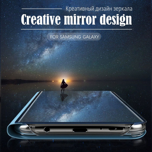 Clear View Mirror Flip Phone Case For Samsung Galaxy S8 S9 Plus S7 edge Full Cover For Samsung S8 S9 Note 8 9 Leather Flip Cases