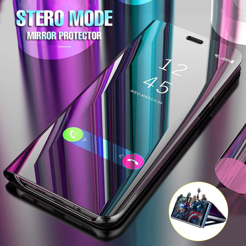 Luxury Plating Mirror Flip Case For Samsung Galaxy S8 S9 PLus S7 Edge Note 8 Clear Smart View Shockproof Bracket Leather Cases