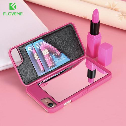 FLOVEME Luxury Mirror Case For Samsung Galaxy S7 S7 Edge S8 S8 Plus Cases Flip Phone Cover For Samsung S7 Edge S8 Plus Case Girl