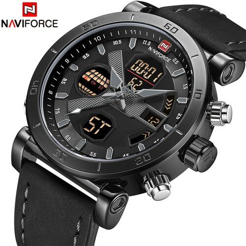 NAVIFORCE Brand Men's Military Sports Watches Waterproof Digital Analog Quartz Wristwatches Men Clock Relogio Masculino 9133