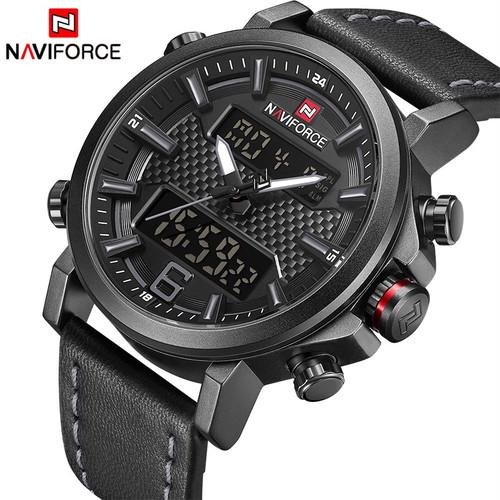 2018 NAVIFORCE New Men's Fashion Sport Watch Men Leather Waterproof Quartz Watches Male Date LED Analog Clock Relogio Masculino