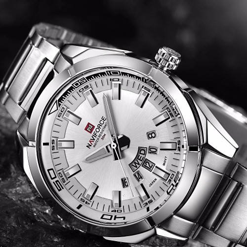 NAVIFORCE Brand Men Watches Luxury Sport Quartz 30M Waterproof Watches Men's Stainless Steel Auto Date Wristwatches Relojes 9038