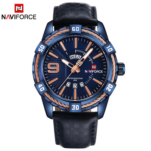 NAVIFORCE Luxury Brand Men Fashion Sports Waterproof watches Men's Date Quartz Clock Man Leather Wrist Watch Relogio Masculino