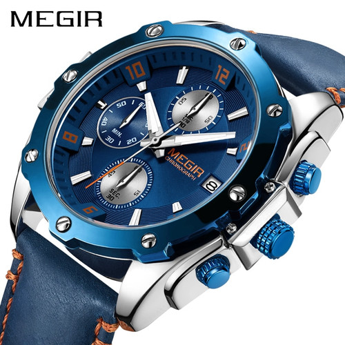 2018 New Mens Watches Top Brand Luxury Megir Sport Men's Watch Quartz Leather Strap Blue WristWatch Waterproof relogio masculino