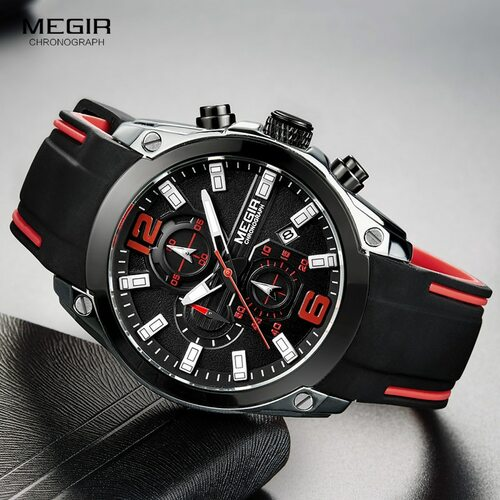 Megir Men's Chronograph Analogue Quartz Watches Fashion Rubber Strap Sport Wristwatch with Luminous Hands for Boys 2063GS-BK-1