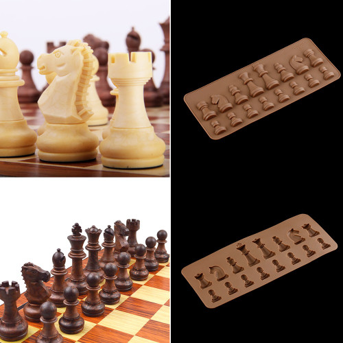 1PC New Stylish Random Color Fondant Cake Chocolate Baking Tray International Chess Chariot Bishop Silicone Mold