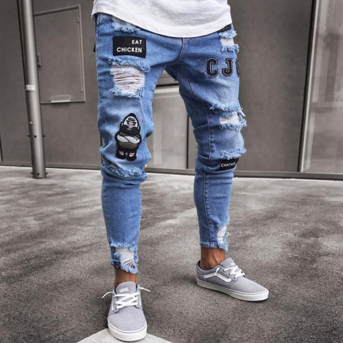 Hirigin 2018 Jeans Men Fear Of Gold Skinny Jeans Fashion Biker Steetwear Distressed Ripped Denim Pencil Style Slim Mens Clothes