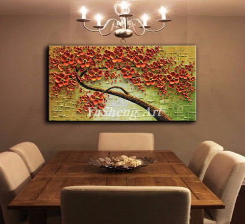 New handmade Oil Painting on Canvas Palette knife Thick Paint Tree 3D Flowers Paintings Home living room Decor large Art Picture