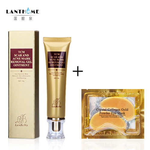 LANBENA Serum Acne Scar Stretch Marks Remover Cream Repair Face Skin Anti Spot/acne Treatment Cream+Anti-aging Collagen Eye Mask