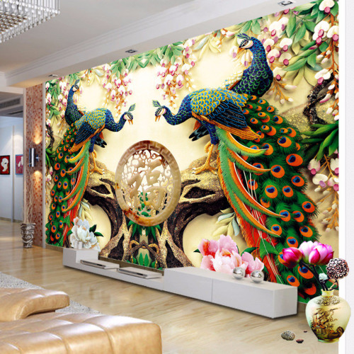 Custom 3D Wall Mural Wallpaper 3D Non-woven Peacock Living Room TV Background Large Wall Painting Murales De Pared 3D Wallpaper