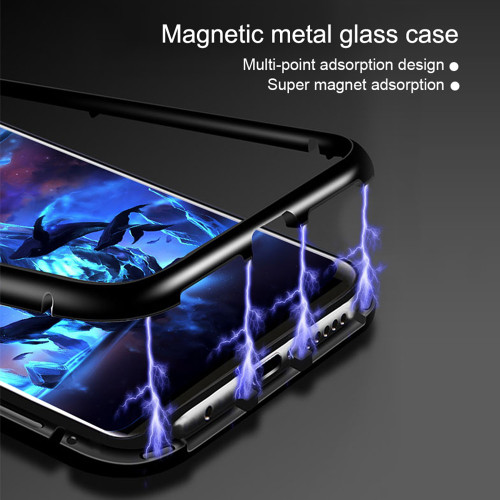 WOWCASE Magnetic Adsorption Tempered Glass Cases For iPhone X Metal Bumper Luxury Magnet Back Cover For iPhone 7 8 Plus Coque