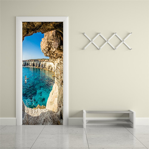 Photo Wallpaper 3D Stereo Cave Seascape Mural Modern Creative DIY Door Wall Sticker Living Room Dining Room Home Decor PVC Mural