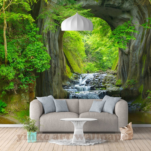 Custom 3D fresh rill Forest Wall Mural Photo Wallpaper Scenery For Walls 3D Room Landscape Wall Paper For Living Room Home Decor