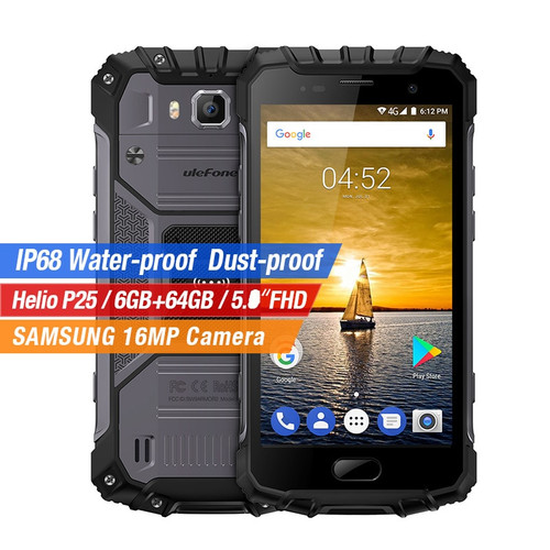 Ulefone Armor 2 4G IP68 Waterproof Shockproof Smartphone Helio P25 Octa Core Android 7.0 6GB+64GB 16MP Fingerprint Mobile Phone