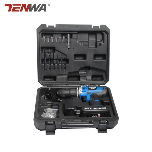"""Tenwa 20V Impact Cordless Drill Lithium-Ion Battery  Electric Cordless Drill with box hand Charging Drill bit power tool 1/2"""""""
