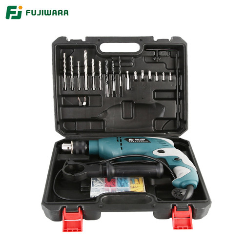 FUJWARA 220V 710W Impact Electric Drill Set Household Hand-held Electric Hammer  Wall Drilling Woodworking Electric Screwdriver