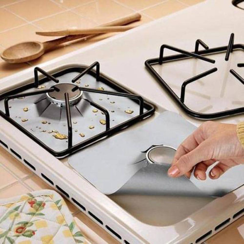 4Pcs/set Black Reusable Foil Gas Hob Range Stovetop Burner Protector Liner Cover For Cleaning Kitchen Tools Cooking Tools Set