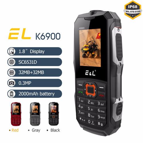 2G Unlocked Phones Original EL K6900 Big Speaker GSM Waterproof Shockproof Mini Key Dual Sim 2000mAh Battery Mobile Phone IP68