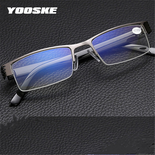 YOOSKE Blue Film Resin Reading Glasses Men Women +1.00 1.50 2.00 2.50 3.00 3.50 4.00 Diopter