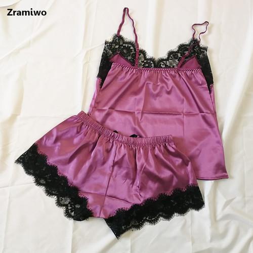 Women's Sleepwear Sexy Satin Pajama Set Black Lace V-Neck Pyjamas Sleeveless Cute Cami Top and Shorts
