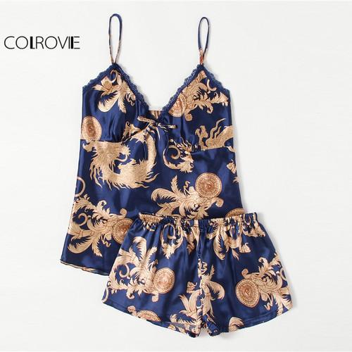 COLROVIE Graphic Print Satin Pajama Set V Neck Spaghetti Strap Sleeveless Sleepwear Women Sexy Winter Pajama Set