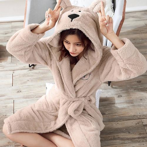 Winter Cute Warm Bathrobes Women Cartoon Bear Rabbit Knee-Length Bath Robe Dressing Plus Size Soft Gown Bridesmaid Robes Female