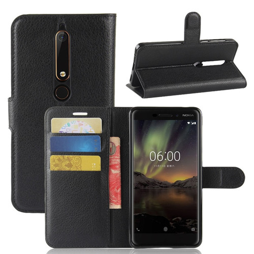 For Nokia 6.1 Case Lichee Pattern Cover Cases For Nokia 1 2 3 5.1 8 Sirocco Nokia 7 Plus Leather Wallet Case For Nokia 6 2018
