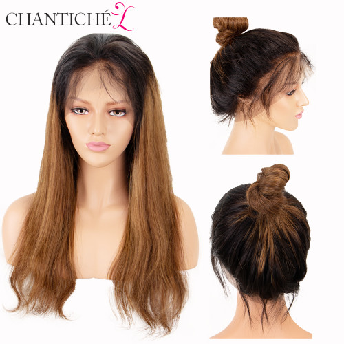 360 Lace Frontal Wigs For Women Body Wave Brazilian Remy 150% Density Lace Wig With Baby Hair Pre Plucked Ombre Brown Chantiche
