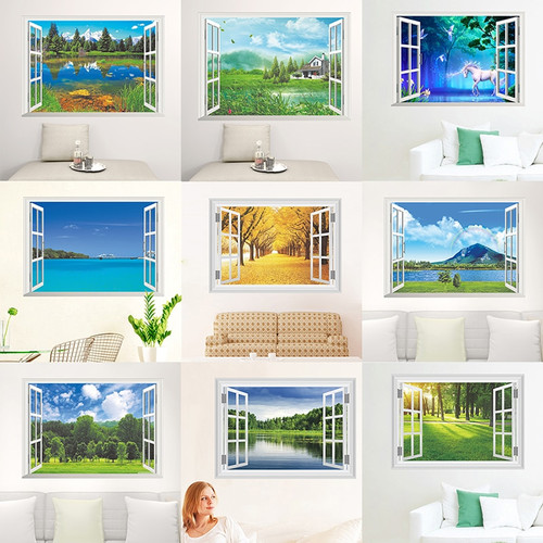 Nature Landscape 3D Window View Wall Stickers For Living Room Bedroom Decorative Decoration Home PVC Decor Mural Wall Art Decals