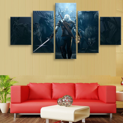 5 Piece The Witcher 3 Game Characters Landscape Posters Painting on Canvas for Home Decor