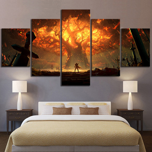 5 Piece HD Video Game World of Warcraft DOTA 2 Painting Poster Decorative Mural Art Room Wall Decor
