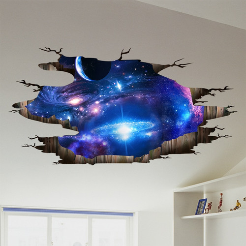 [SHIJUEHEZI] 3D Cosmic Galaxy Planets Wall Stickers Outer Space Wall Poster for Kids Room Baby Bedroom Ceiling Decoration