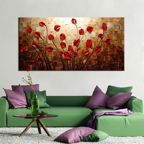 100% Hand Painted Textured Palette Knife Red Flower Oil Painting Abstract Modern Canvas Wall Art Living Room Decor Picture