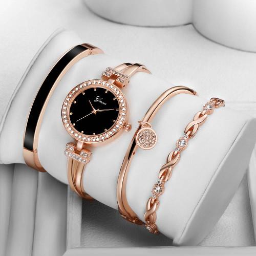 4 PCS set Ginave Watch Women Rose Gold Diamond Bracelet Watch Luxury Jewelry Ladies Female Girl Hour Casual Quartz Wristwatches