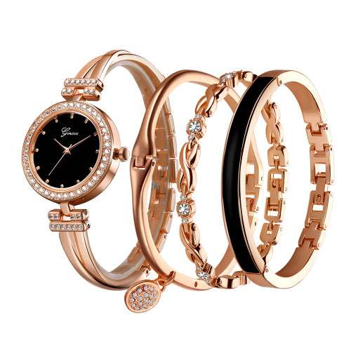 4 PCS set Ginave Watch Women Rose Gold Diamond Bracelet Watch Luxury Jewelry Ladies Female Girl Hour Casual Quartz Wristwatches