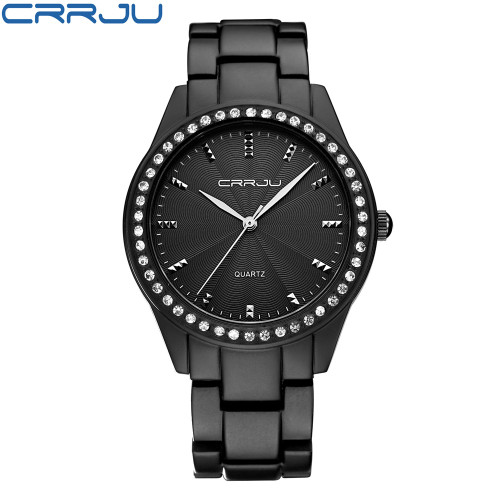 New 2017 CRRJU Fashion Casual Clock Bracelet Watch Women Rhinestone Watches Women's elegant Quartz Wrist Watch relojes mujer