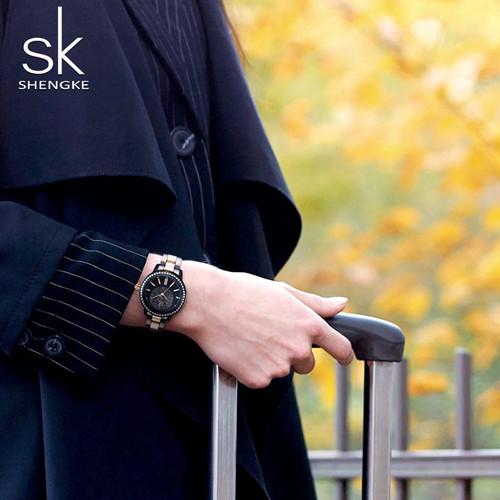 SK Fashion Brand Ladies Quartz Watch Women Casual Dress Wristwatch Rhinestone Bracelet Watch Rose Gold Crystal reloje mujer