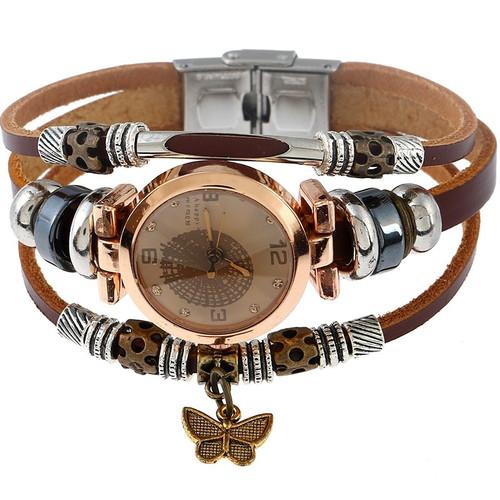 Gnova Platinum Top Women Premium Genuine Leather Watch Triple Bracelet Watch Butterfly Charm Wristwatch Fashion Para Femme A581