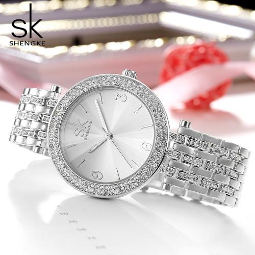 Gift SK Luxury Women Watch Crystal Sliver Dial Fashion Design Bracelet Watches Ladies Women wristWatch Relogio Feminino Shengke