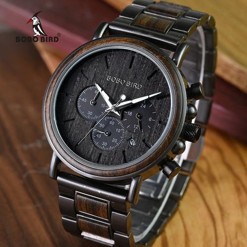 BOBO BIRD Luxury Wood Stainless Steel Men Watch Stylish Wooden Timepieces Chronograph Quartz Watches relogio masculino W-Q2