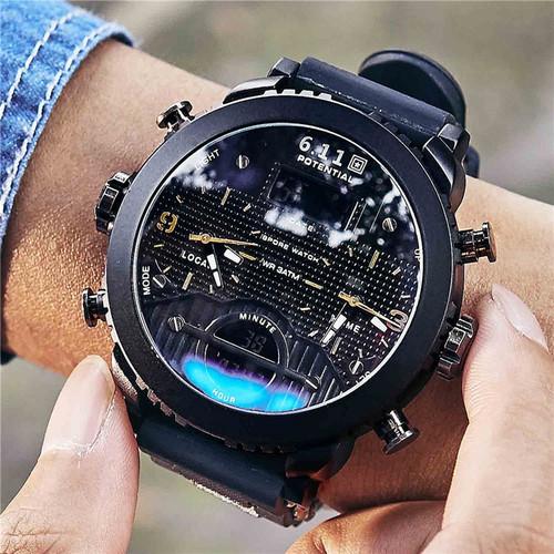 6.11 New Big Mens Watch Sport Quartz Men Wristwatches Quartz Black Led Digital Sport Watch Men Relogio Masculino