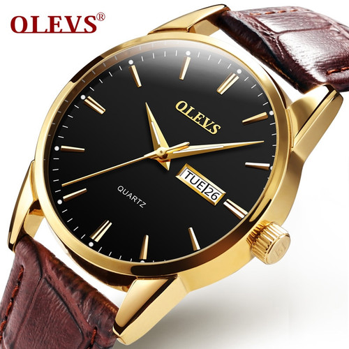 OLEVS Mens Watches Top Brand Luxury Quartz Wrist watch reloj hombre Fashion Casual Business Leather Men Watch Relogio Masculino