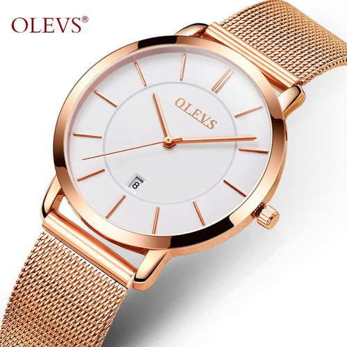 OLEVS Ultrathin Rose Gold Watch For Women Calendar Mesh Steel Strap Wristwatch Dial Quartz Ladies Watches relogio feminino 5869