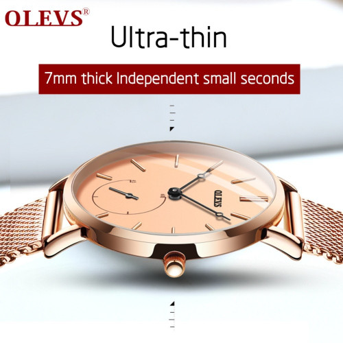 OLEVS Luxury Fashion Women Watches Rose gold Mesh belt Dress Black dial Ladies Watch Quartz D Wrist Watches W Gift Dropshipping