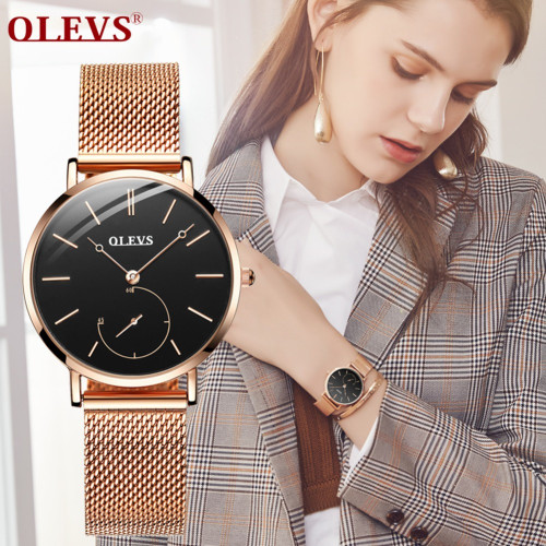 Reloj Mujer Fashion Wrist Quartz Watch Women Black Casual Ladies Dress Watches Rose Gold Mesh Stainless Steel Female Clock Uhr