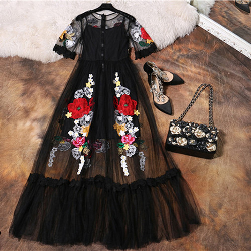 Luxury Dress New 2018 Summer Fashion Designer New Elegant Flower Embroidery Appliques Black Mesh Slim Women Vintage Long Dress