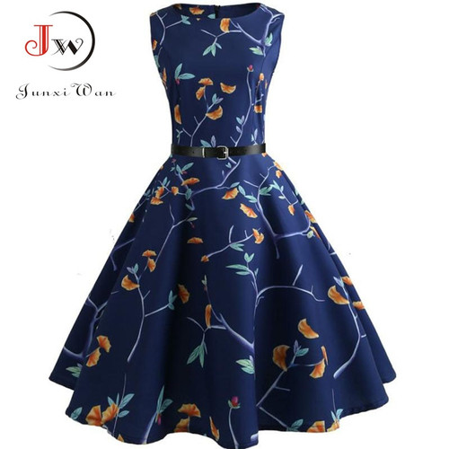 Floral Print Summer Dress Women 2018 Vintage Elegant Swing Rockabilly Party Dresses Plus Size Casual Midi Tunic Runway Dress